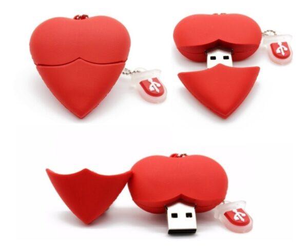 Pen Drive Colar Coração Vermelho