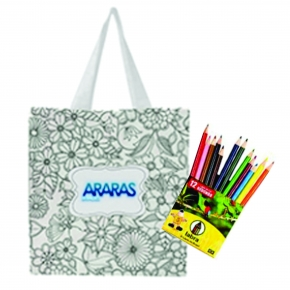 Sacolas Anti Stress c/ mini lápis de Colorir 37x37cm